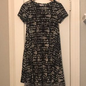 Black and White Triangle High Low Dress